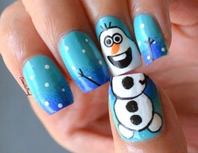 Frozen Snowman Olaf Nails