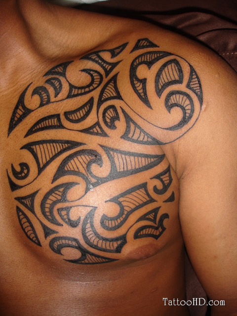 Tribal Maori chest tattoo design
