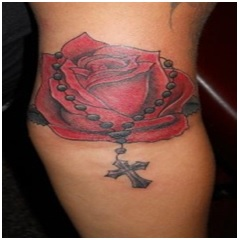 rosary tattoo with red rose flower