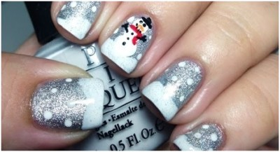 snowman with glittery snow winter nails