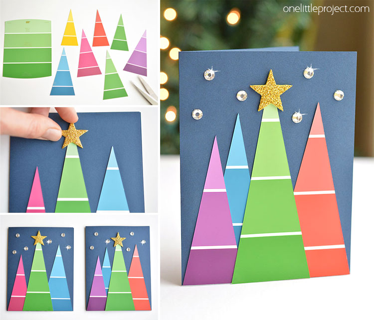 Easy Christmas Ornaments cards craft idea for kids