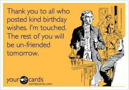 sarcastic funny thank you birthday ecard ideas