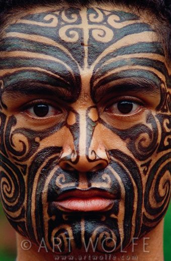 tribal culture Maori Ta Moko tattoo on face