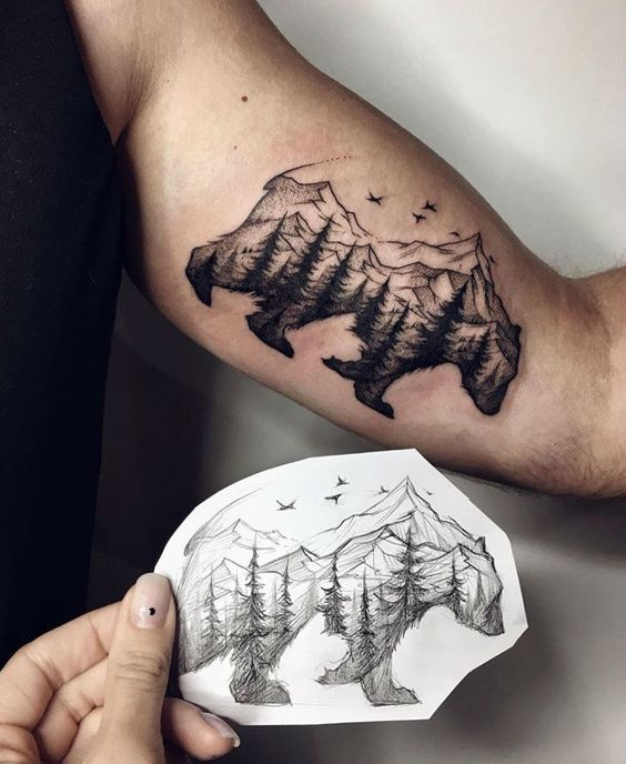 unique create landscape winter tattoo sketch