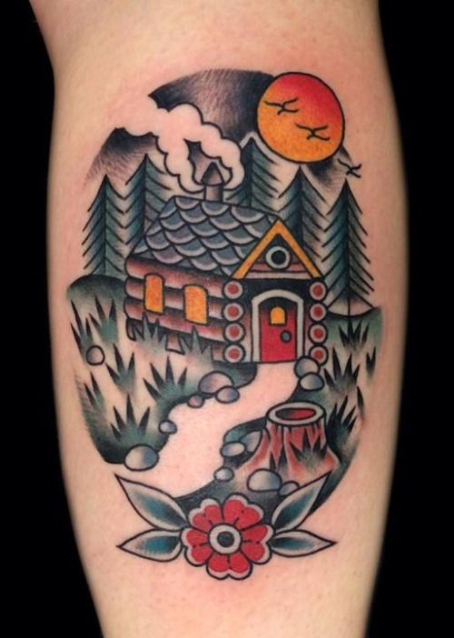 winter american traditional log cabin tattoo