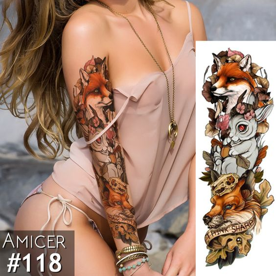 winter full sleeve fox rabbit tattoo sticker