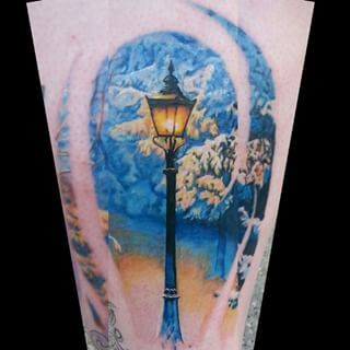 winter lamp post narnia tattoo design