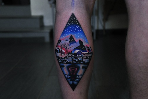 winter mens psychedelic tattoo by David Cote