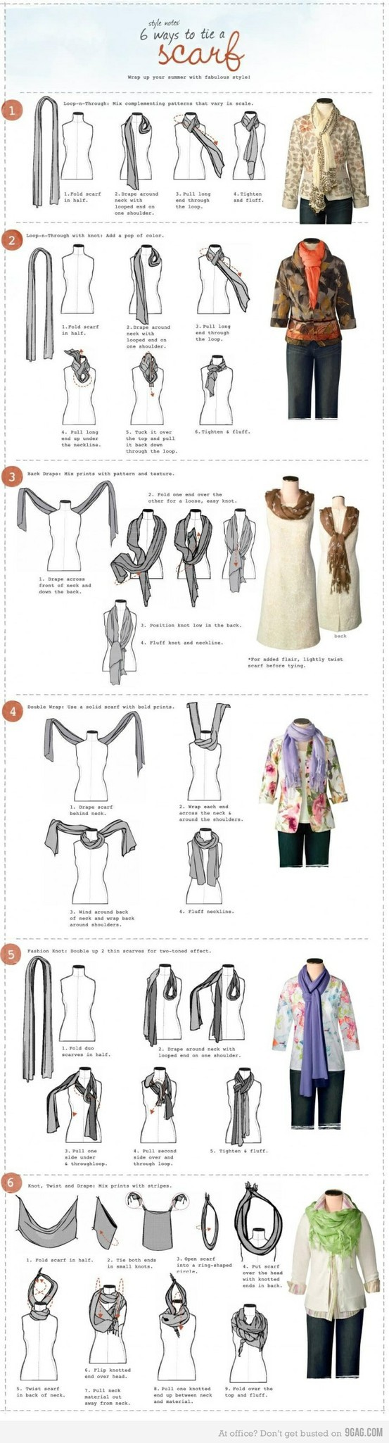 6 ways to tie a scarf printable