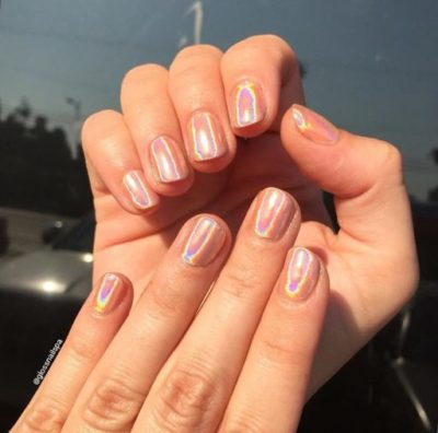 Coral base Holographic nails