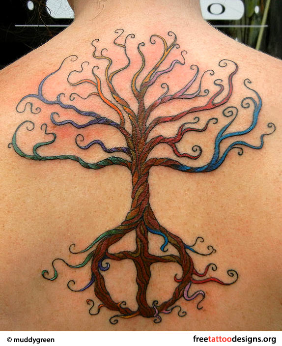 Egyptian tree of life tattoo on back for women