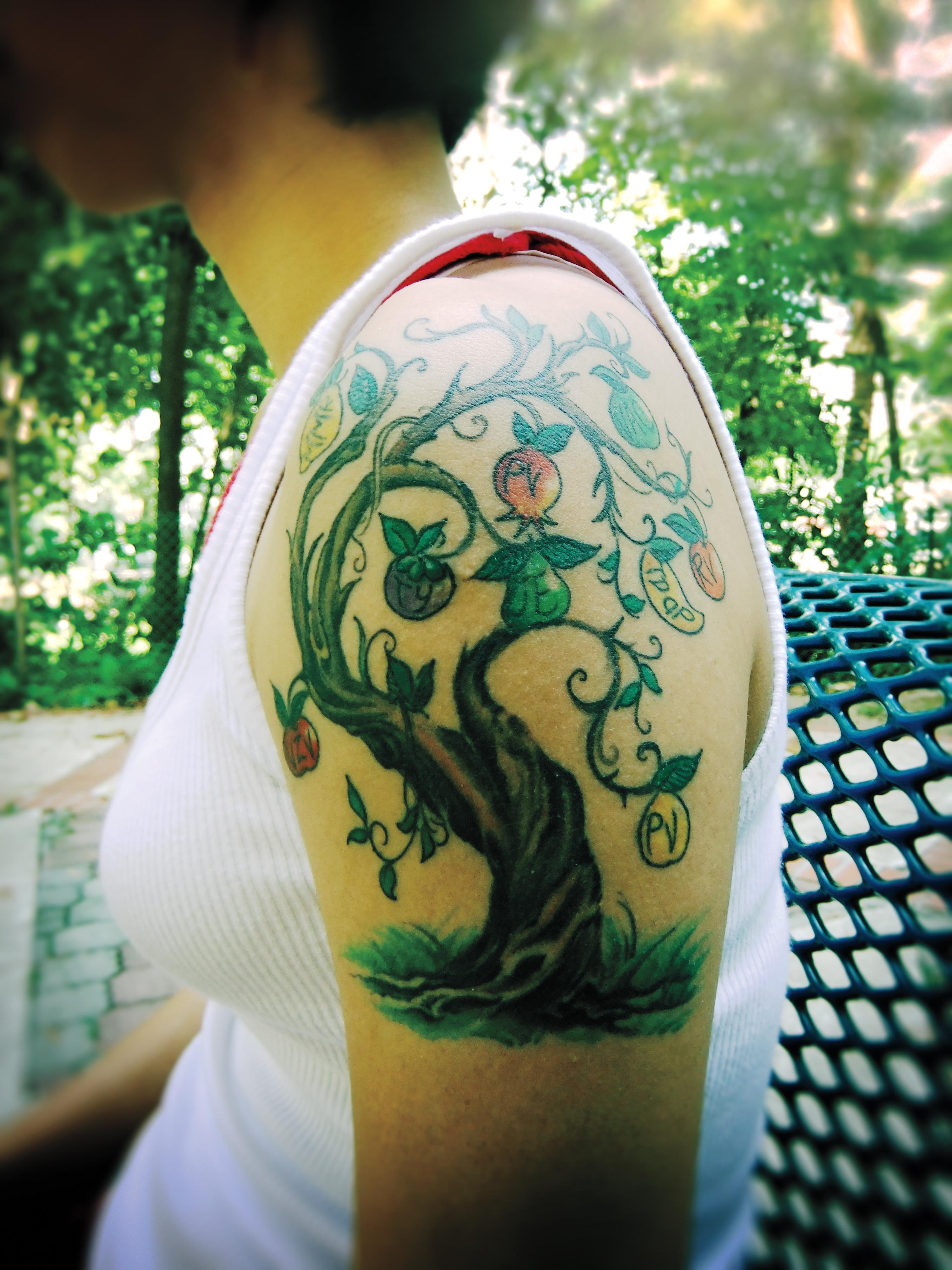 Fruit bearing tree of life tattoos