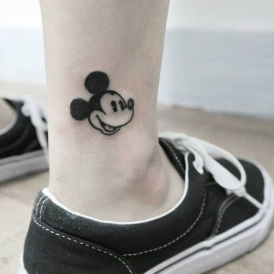Mickey Mouse Tattoo on ankle