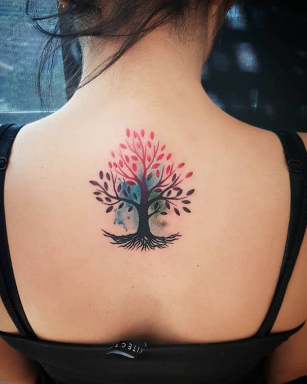 Yggdrasil tree of life tattoo on back for women