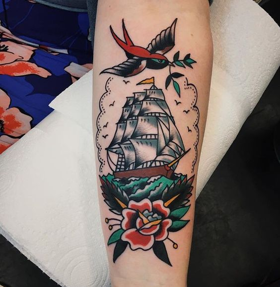 american traditional clipper ship tattoo