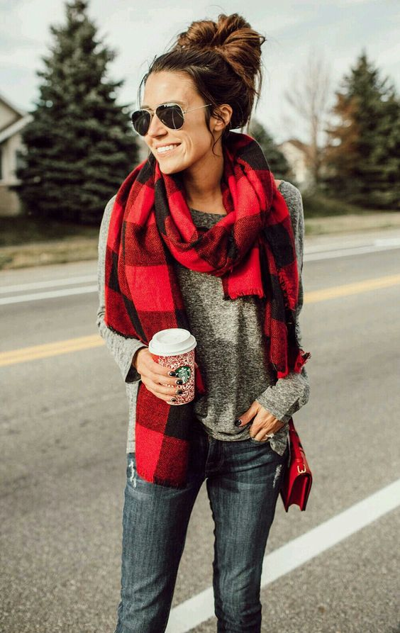 buffalo plaid womens scarf