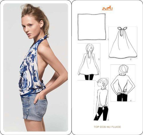 tie a scarf into a halter top