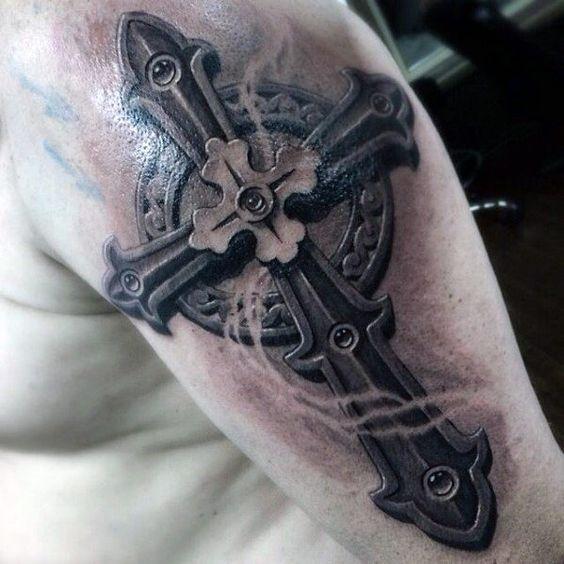 3d cross tattoo half sleeve