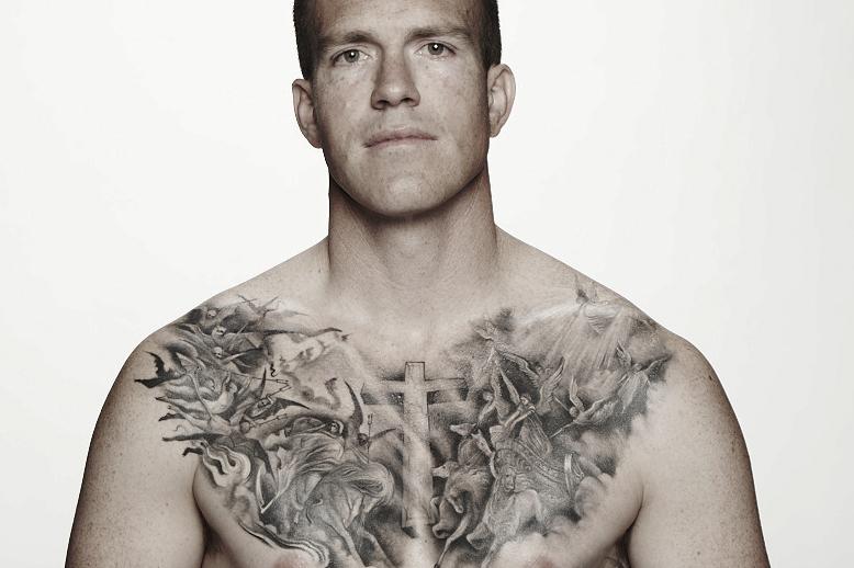Kat Von D chest tattoo