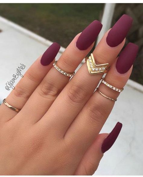 Matte Burgundy Coffin Nails