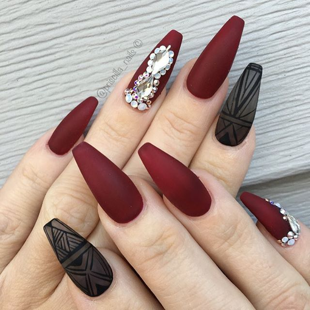 black and red coffin nails
