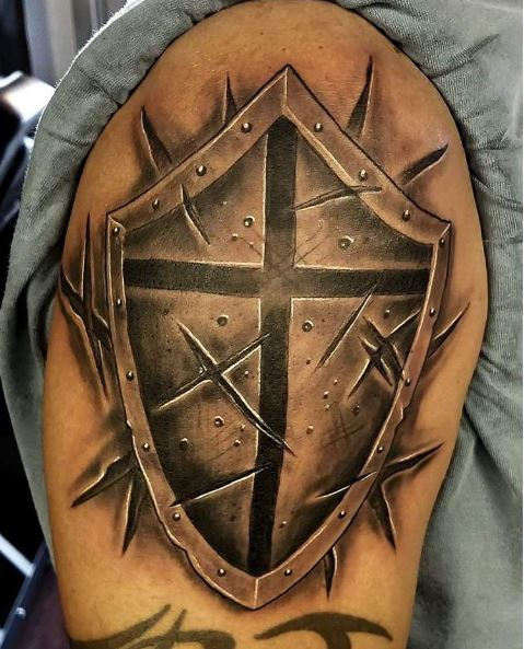 cross shield tattoo