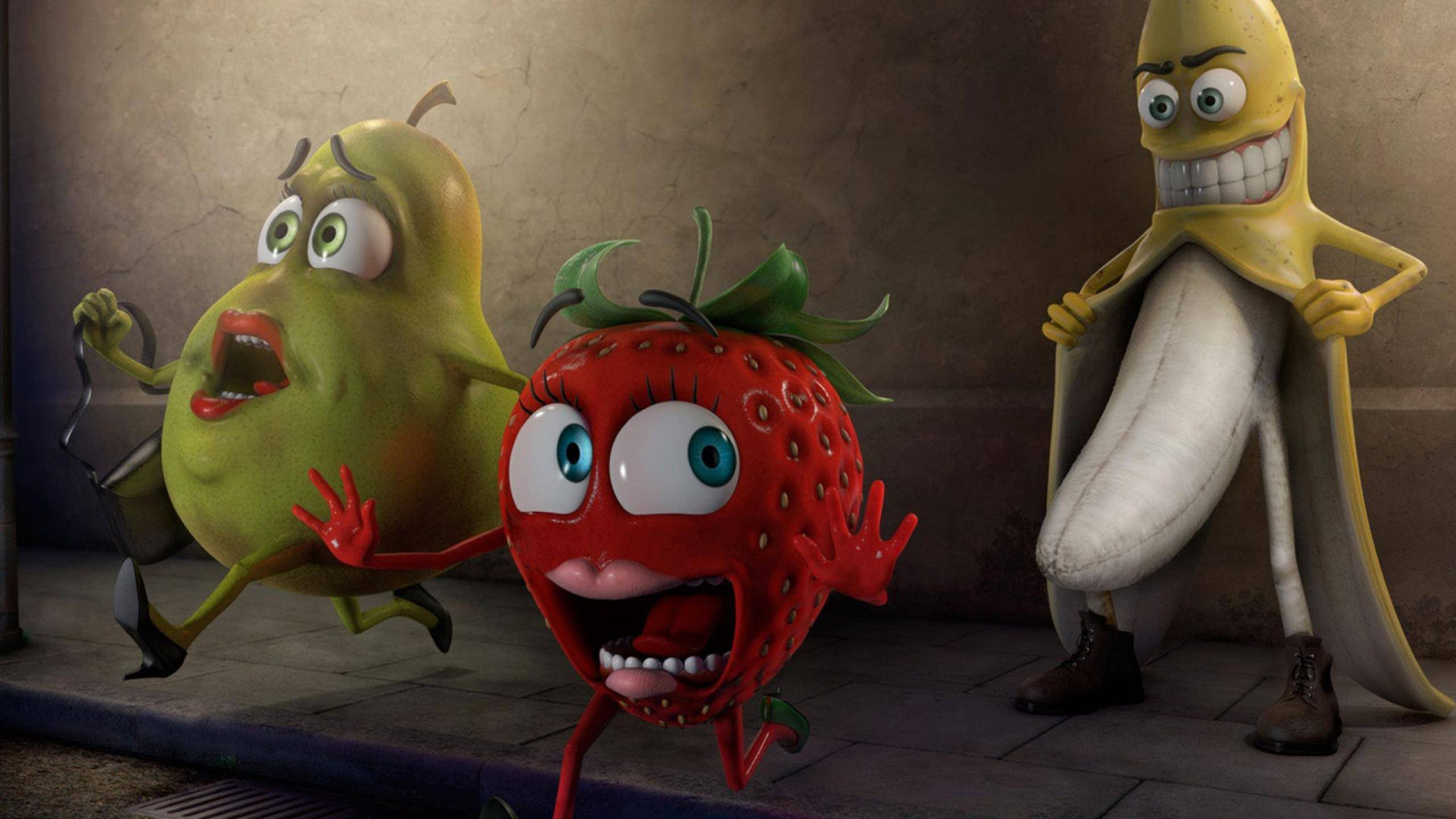 funny fruits 3d high resolution wallpaper