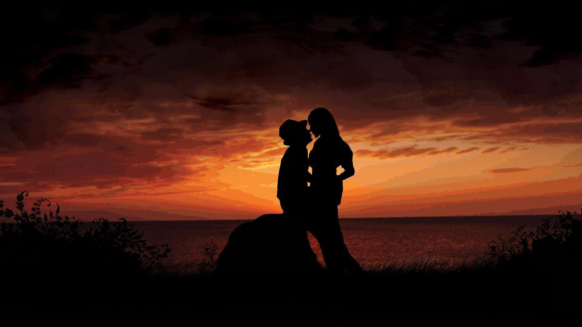 hd silhouette love couple romantic photo background