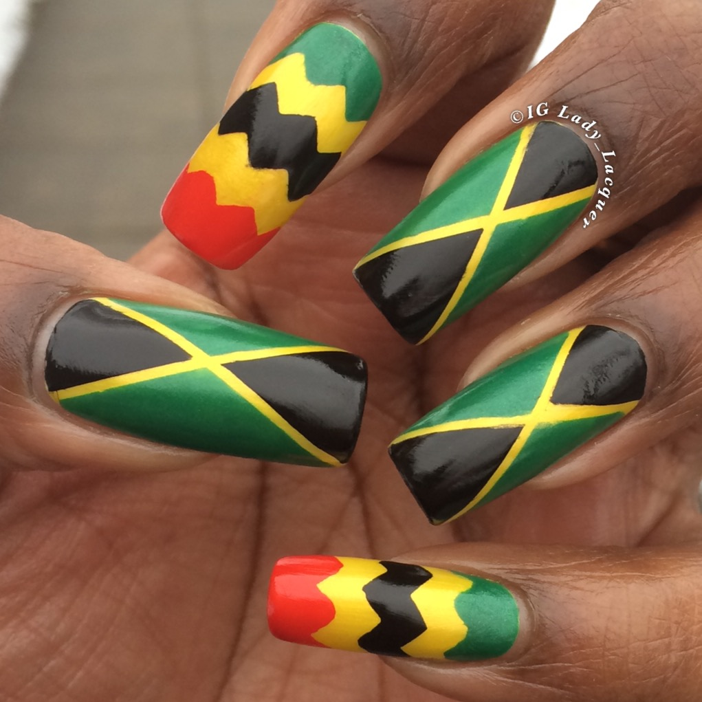 Jamaican flag nails