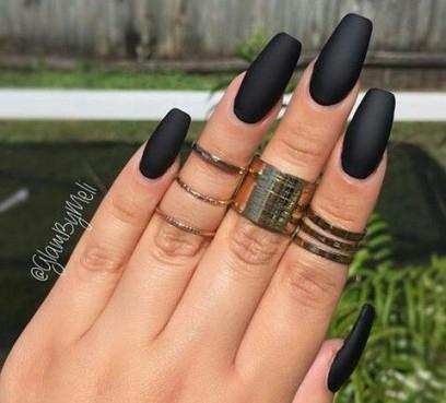 matte black coffin nails