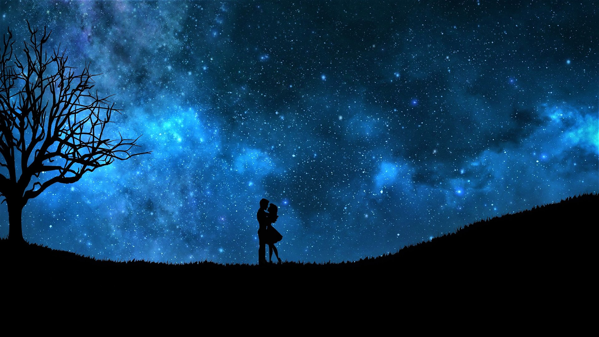 milky way background romantic couple wallpaper