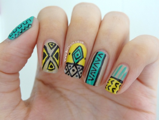 1 Aztec Tribal nail design