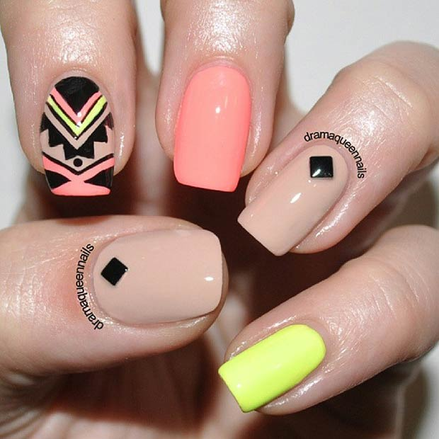 1 neon tribal nails