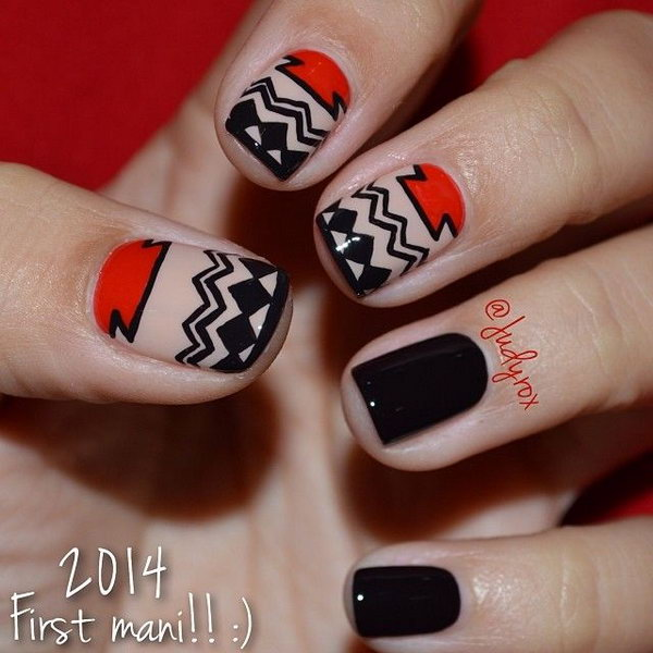 2 Aztec Tribal nail design