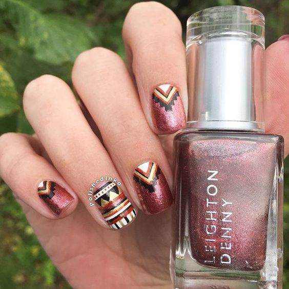 3 Aztec Tribal nail design