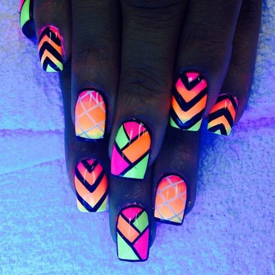 3 neon tribal nails