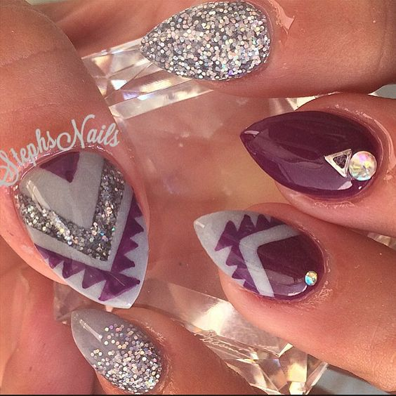 3 stud nail art design