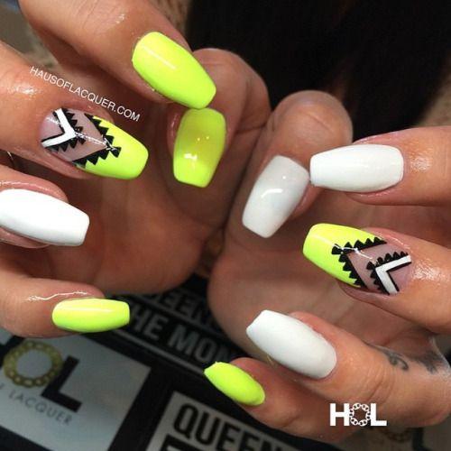 5 neon tribal nails