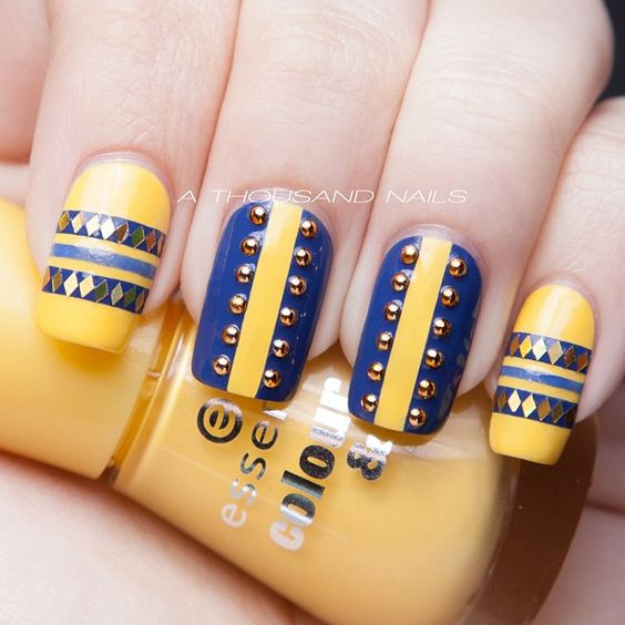 5 stud nail art design
