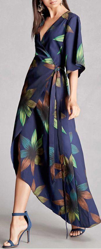 Chiffon V-Neck Long Sleeve Slit Floral Long Maxi Party Dress