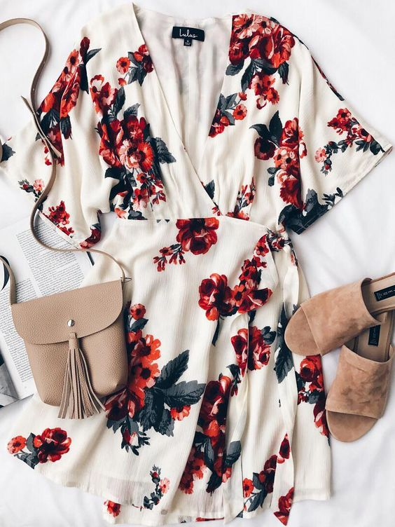Orchard Fresh Cream Floral Print Wrap Dress