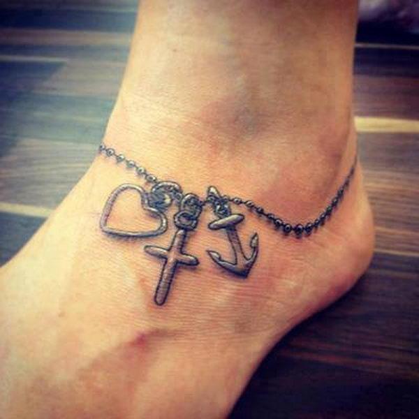 faith hope love ankle tattoo