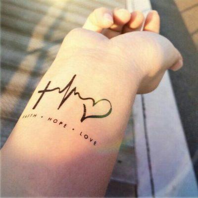 faith hope love heartbeat tattoo
