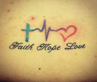 faith hope love heartbeat tattoo