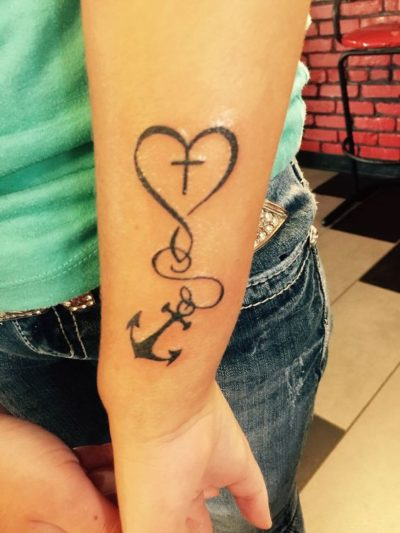 faith hope love tattoo cross anchor heart