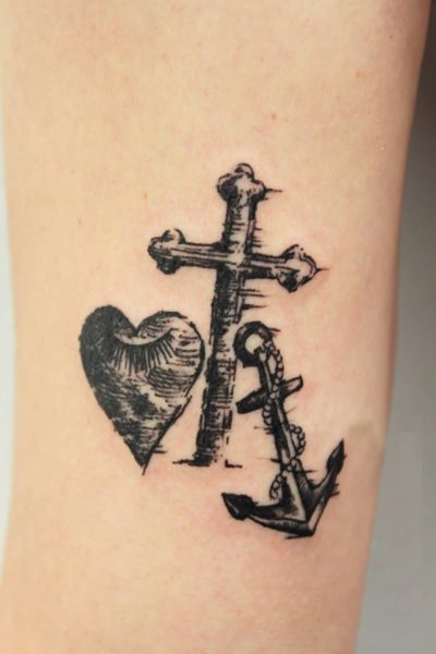 heart-cross-anchor-tattoo