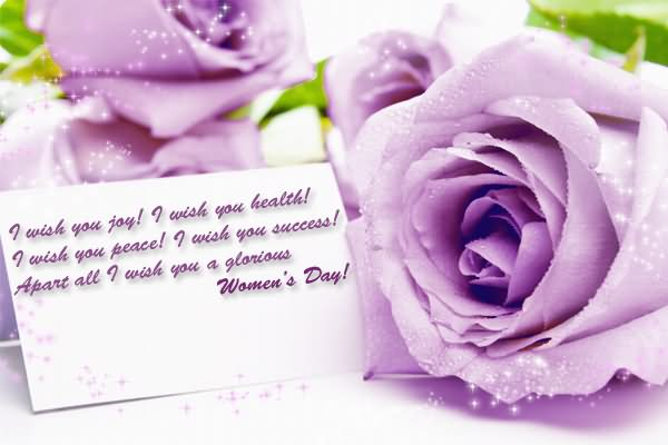 womens day purple flowers wishes image