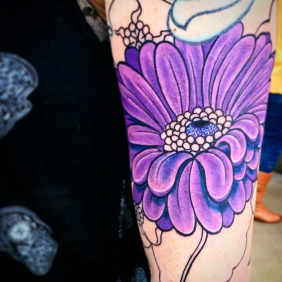 Aster flower Tattoo by Veronica Dey
