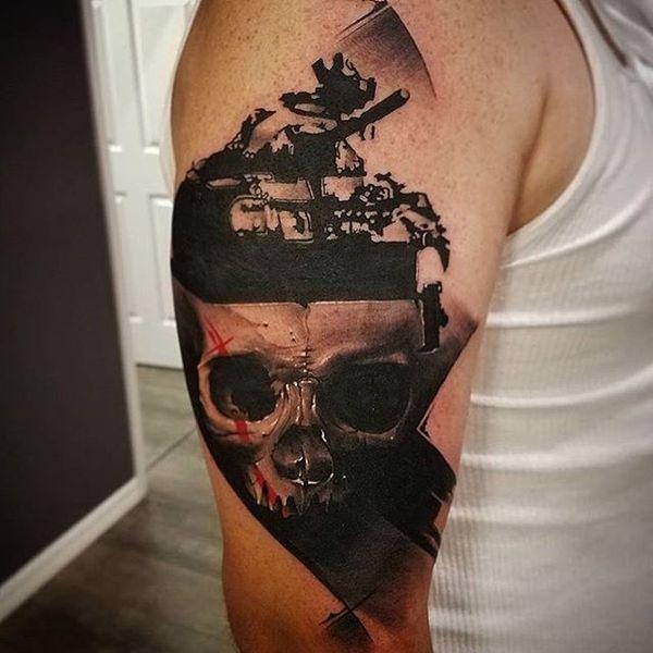 Polka Trash War Tattoo on sleeve