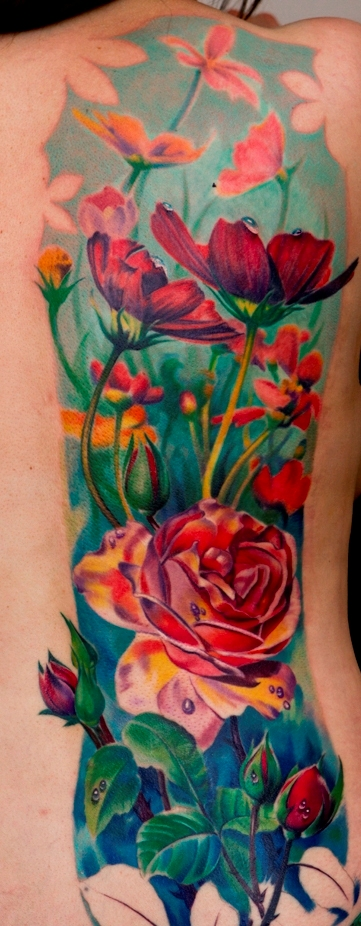 colorful flowers tattoo on back